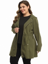 Solid Drawstring Hooded Collar Plus Size Trench Coat