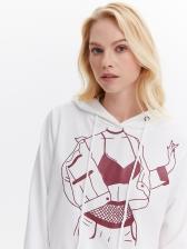 Easy Matching Pattern Printed Loose White Hoodie