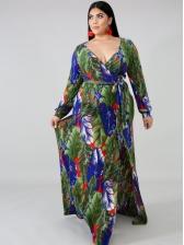 Deep v Printed Slit Maxi Dresses For Women