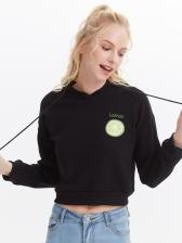 Lemon Pattern Printed Short Hoodies For Women