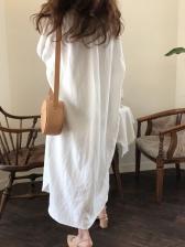 Loose Solid Midi Long Sleeve Shirt Dress