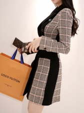 Double- Breasted Contrast Color Plaid Ladies Blazer Dress
