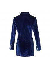 OL Solid Button Design Long Sleeve Women Blazer