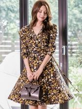 Puff Sleeve Floral Long Sleeve Wrap Dress
