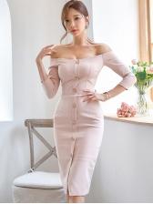 Boat Neck Single-Breasted Bodycon Dress