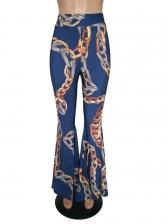 Chain Printed Long Wide Leg Pants