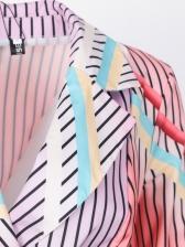 Contrast Color Striped Lapel Neck Long Sleeve Blazer Dress