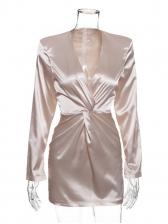 Autumn Satin Design Tied Long Sleeve Mini Dress