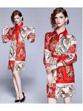 Colorblock Printed Womens Long Sleeve Dress