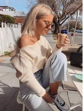 Boat Neck Knitting Long Sleeve T-shirts For Women