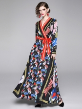 Fashion Vintage Printed Tie Wrap Maxi Dress