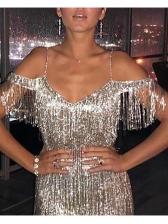 Shining Tassels Decor Shoulder Cut Cocktail Dresses