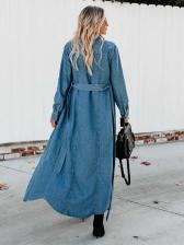 Fashion Solid Denim Ladies Long Coat