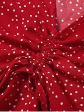 Polka Dot Flare Sleeve V Neck Ladies Blouse