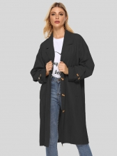 Solid Lapel Collar Long Sleeve Trench Coat
