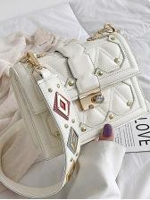 Color Block Rhombus Rivets Decor Pu Shoulder Bag