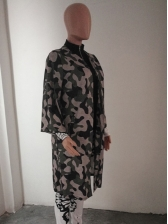 Fashion Camouflage Long Sleeve Long Coat