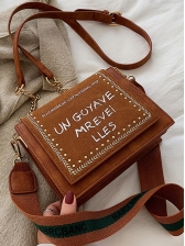 Letter Printed Tiny Beads Shoulder Bag With Chain