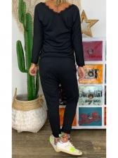 Lace Broder v Neck Black Suit For Women