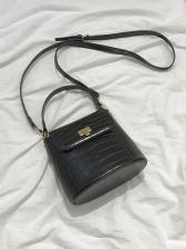 Alligator Print Adjustable Belt Solid Shoulder Bag