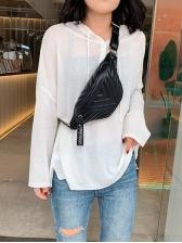Solid Color Adjustable Belt V Pattern Crossbody Bag