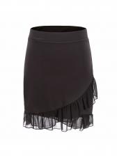 Patchwork Irregular Ruffled Smart Waist Mini Skirt