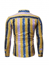 Stylish Contrast Color Male Striped Shirt