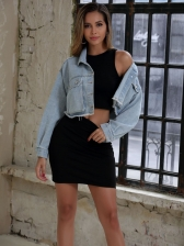 Fringed Edge Short Bule Denim Jacket