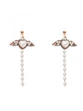 Chic Wing Long Faux Pearl Earrings