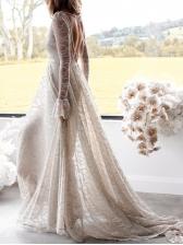 Deep V Neck Backless Long Sleeve Evening Dresses