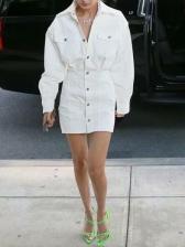 Single-Breasted Loose Solid Long Sleeve Mini Dress