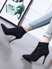 Glitter Rhinestone Black Boots For Women