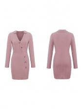 Versatile Slim Pink Long Sleeve Dress For Women