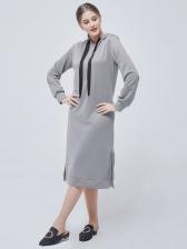 Hooded Collar Side Split Long Sleeve Sweater Dress