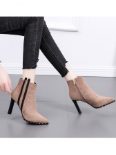 Side Striped Rivet Chunky Heel Ankle Boots