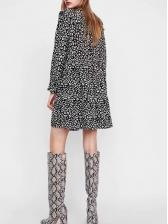 Euro Ruffled Detail Leopard Long Sleeve Dress