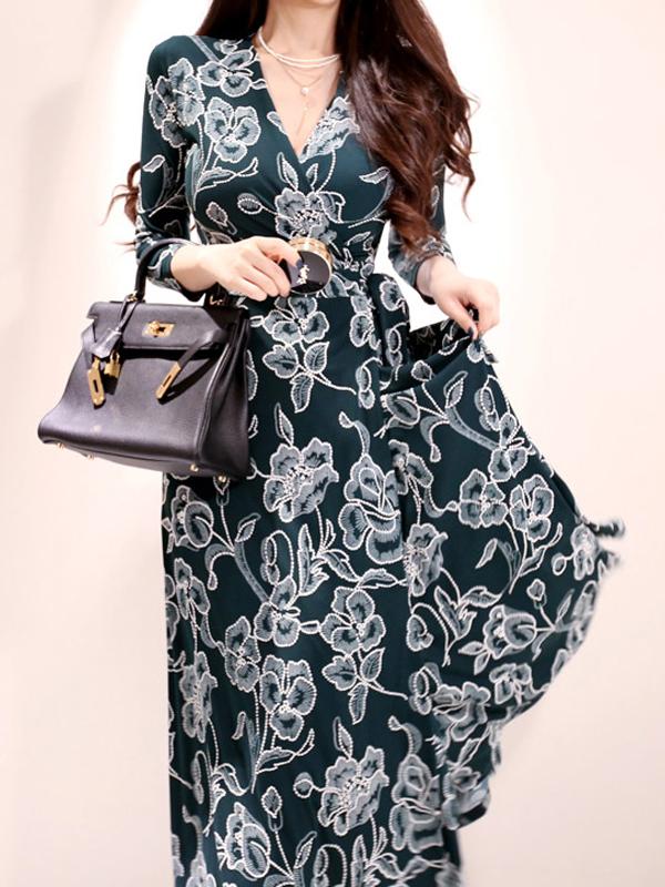 Flower Printed V Neck Split Long Sleeve Midi Dress