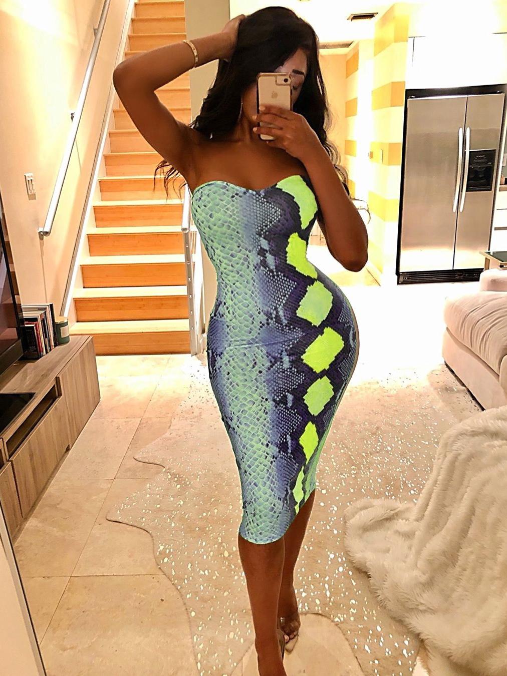 Sexy Snake Print Strapless Dress