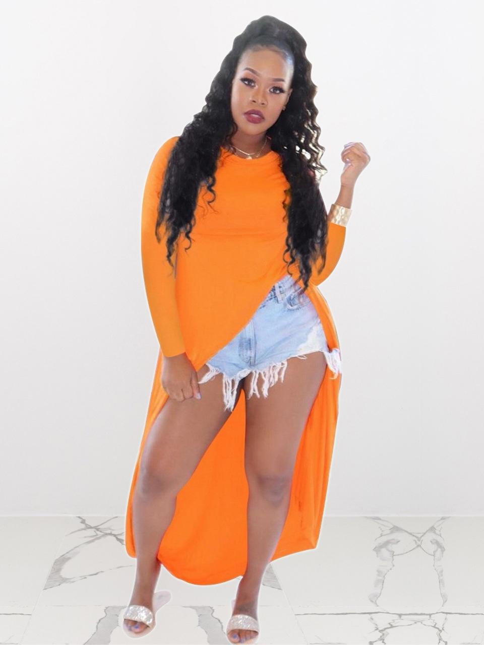 Long Sleeve Split Hem Long T-Shirt For Women