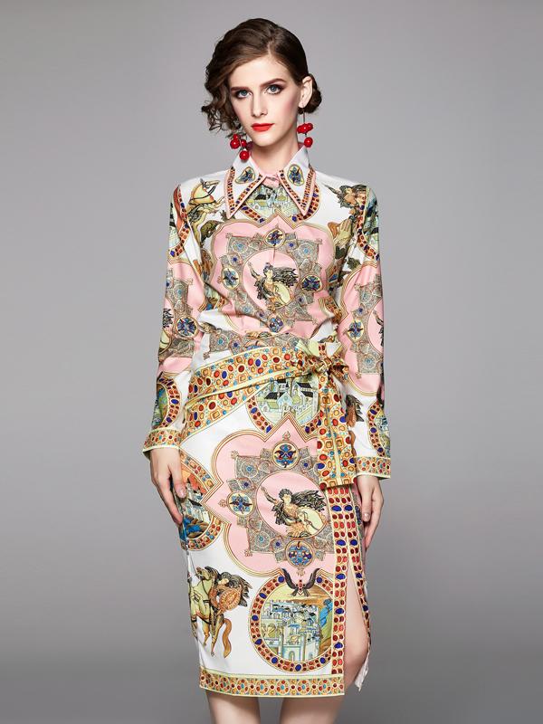 Vintage Printed Bow Split 2 Piece Skirt Set