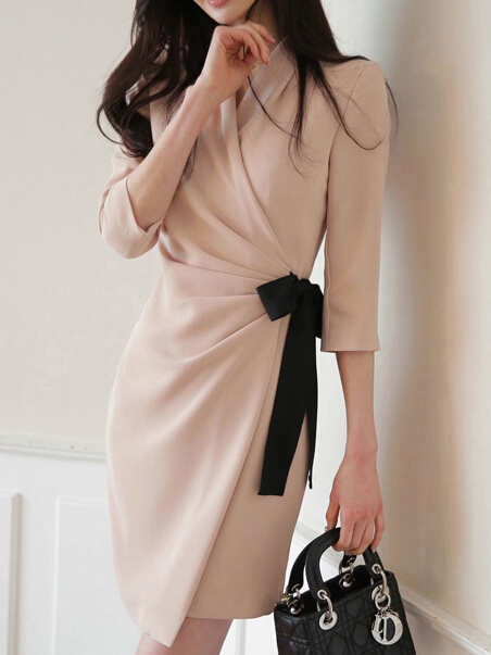 Ol Style V Neck Long Sleeve Wrap Dress
