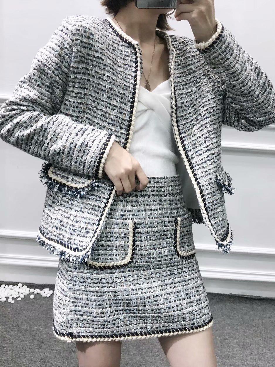 Ragged Hem Long Sleeve Boutique 2 Piece Skirt Set