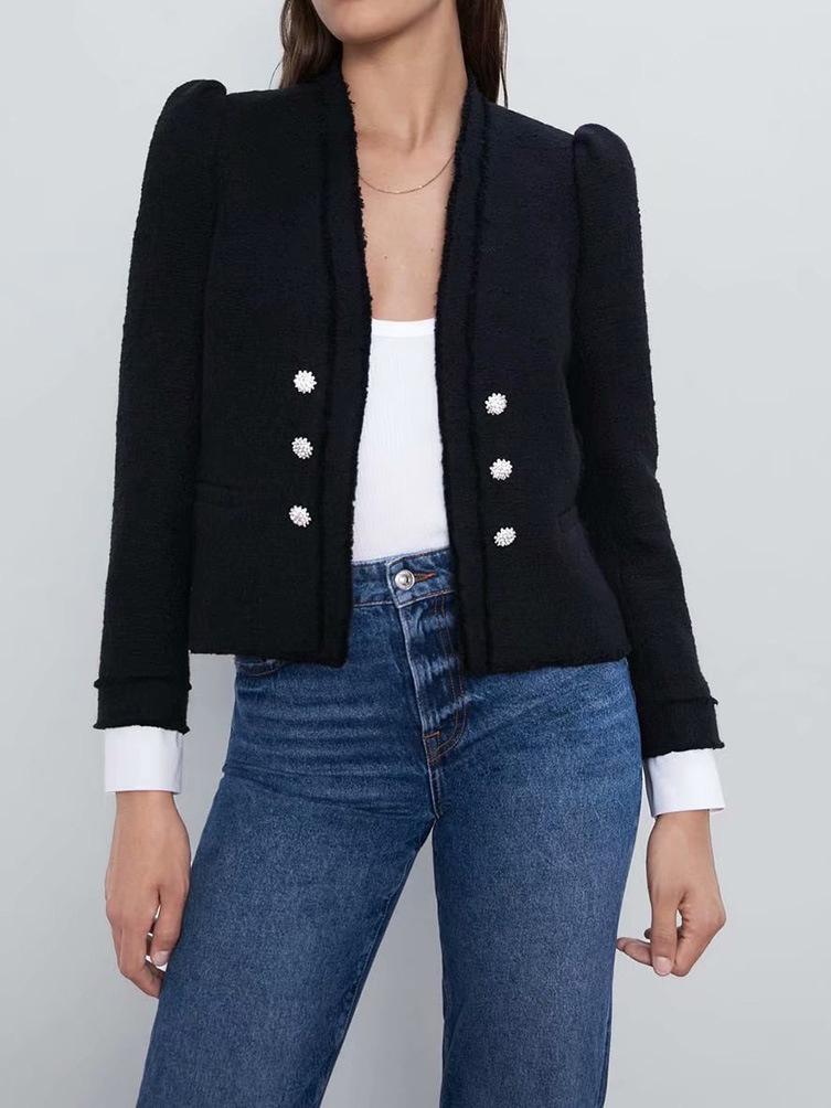Tweed Single Breasted Casual Blazer