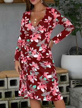 Hot Sale V Neck Split Hem Printed Ladies Dress