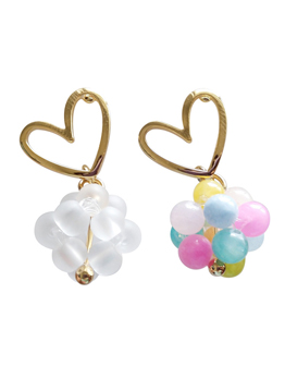 Sweet Heart Candy Bead Asymmetric Earrings For Women