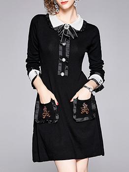 Elegant Bow Turndown Neck Black Long Sleeve Dress