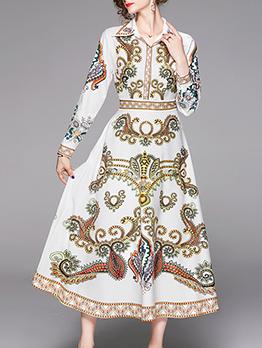 Court Style Turndown Collar Printing Ladies Midi Dress