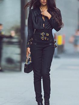 Buckle Strap Smart Waist Long Black Pants