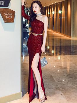 One Shoulder Long Sleeve Sequin Evening Dress