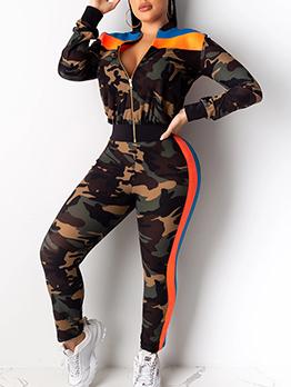 Camouflage Patchwork Ladies Sportswear
